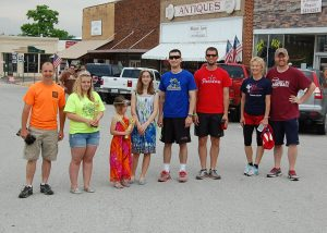 The five-member team from Highway Church of the Nazarene won the bed race at Summer Fest last Saturday afternoon. Team members included Pastor Mark Hatcher (left) and (at right) Ryan Dryer, Jared Smith, Teresa Blakey and Sean Elwood. Also pictured are Summer Fest royalty presenting the trophy: Queen Kaylin Drenske, Lil Miss Halle Watson and Princess Hunter Watson.