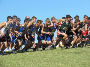 """The guys on the starting line at Missouri Southern's cross country """"Stampede"""" on Saturday, Sept. 21."""