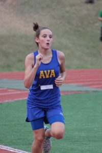 Ava sophomore Julianna Bakerfinishing at the West Plains cross country meetin the junior varsity division.