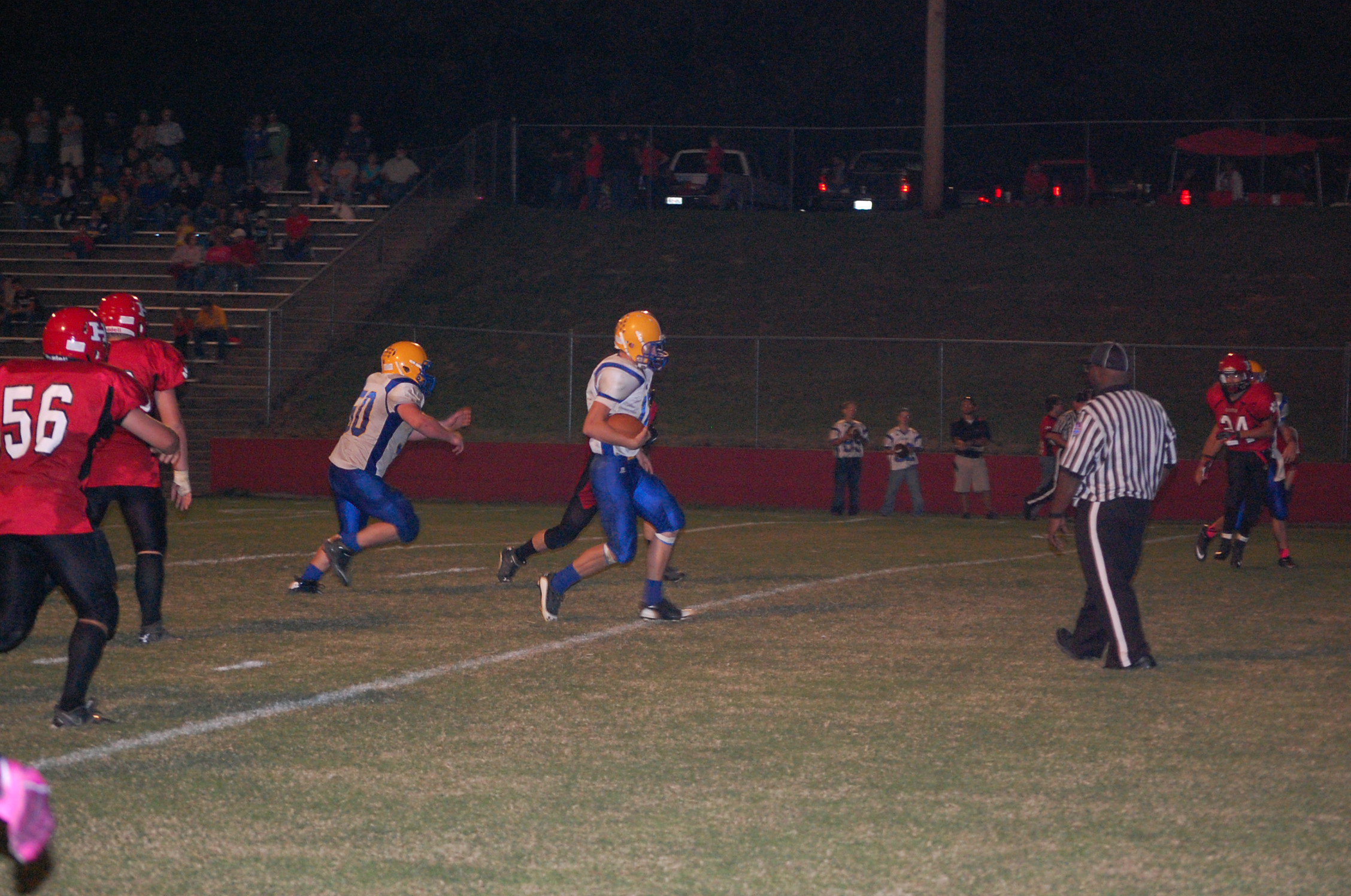 Kane Thompson crosses the goal line for one of three touchdowns scored at Houston last Friday night. Thompson also ran for a 2-point conversion in Ava's 48-8 SCA win.