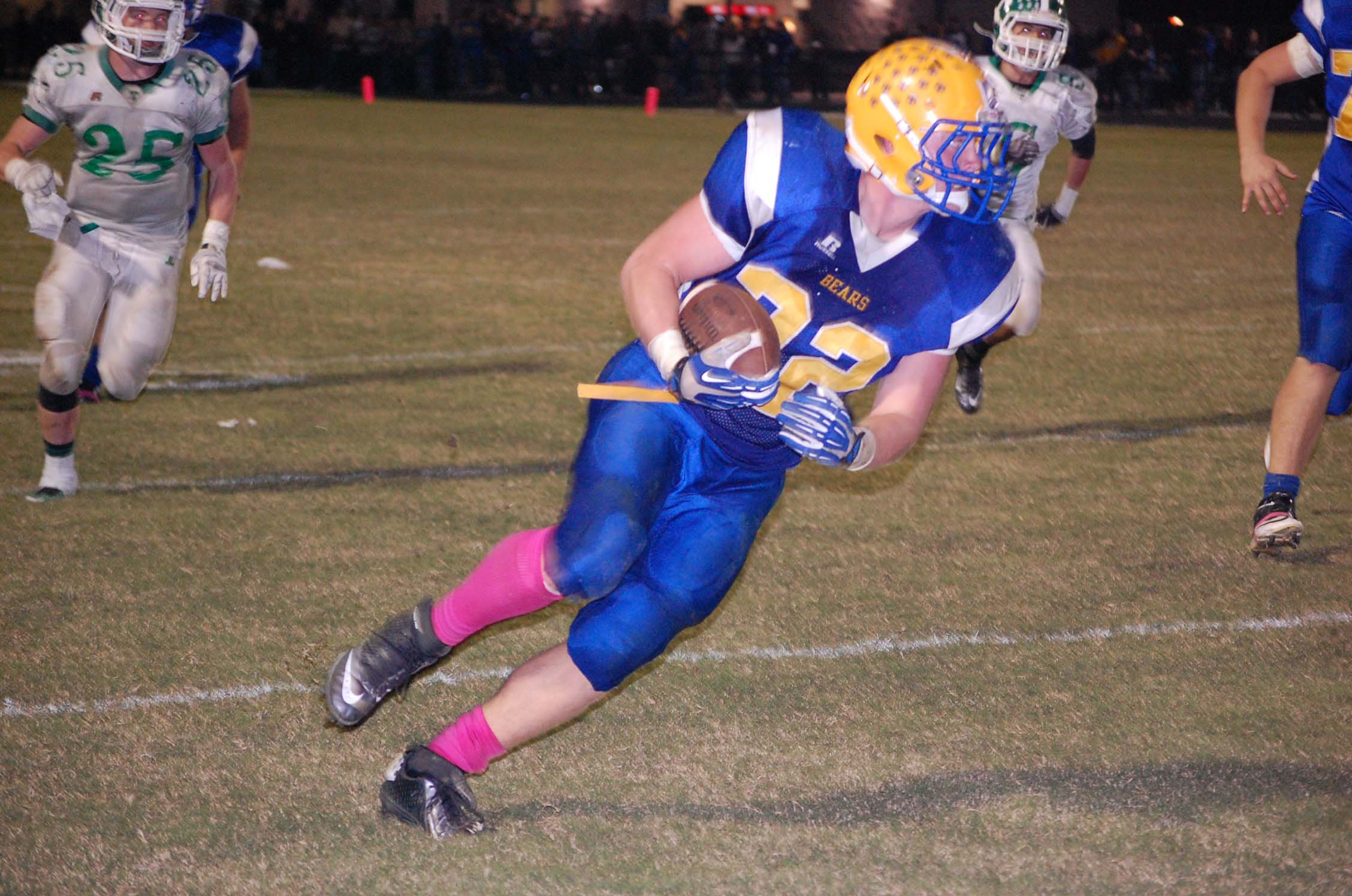 Chase Willis picks up an Ava first down at the Thayer 21-yard line on a pass from quarterback Cody Huff to keep an Ava drive going in the second quarter last Friday night.