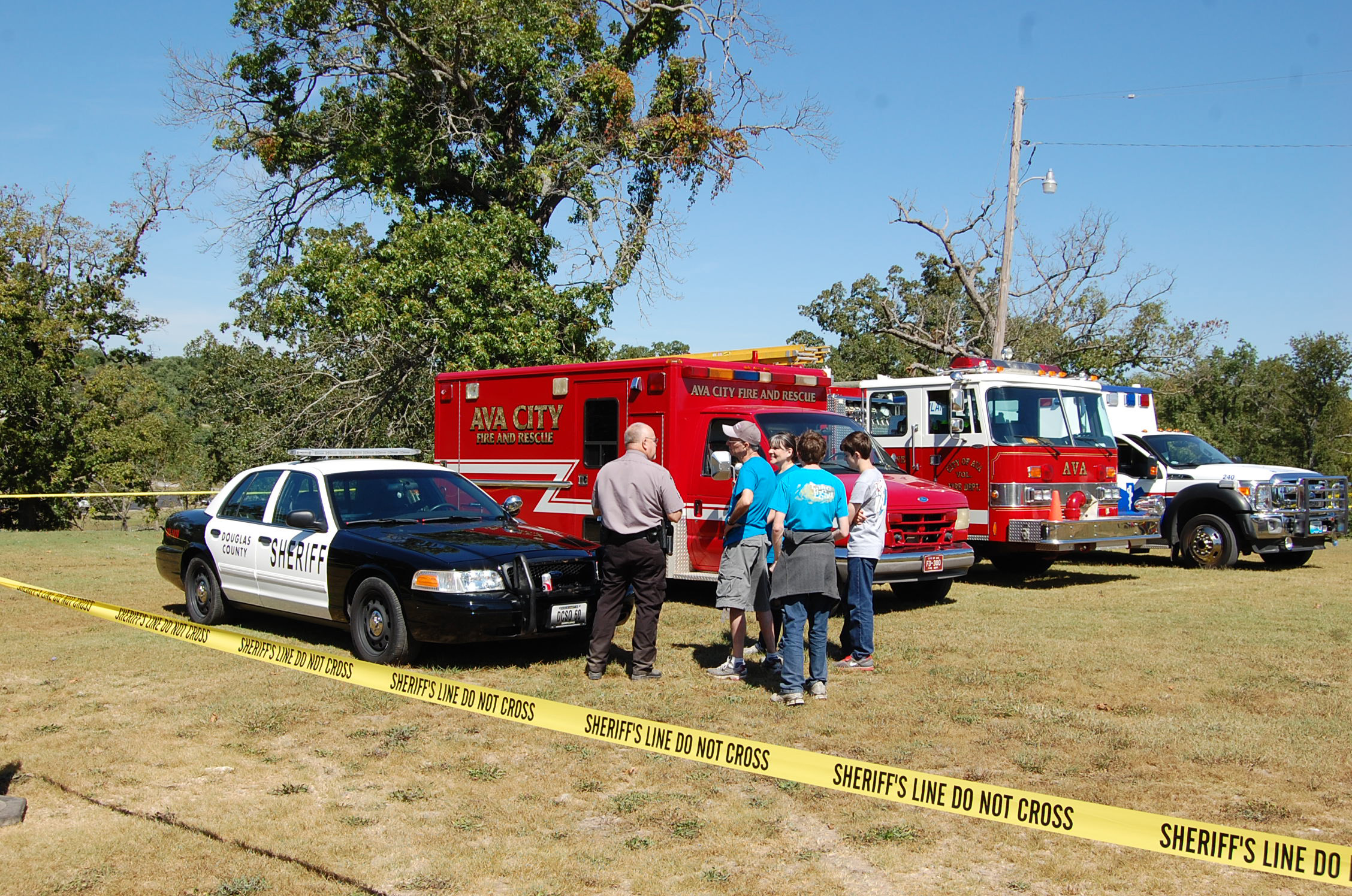 """The Douglas County Sheriff's Department, Ava Fire and Rescue, and Cox Health/Ava Area Ambulance displayed emergency vehicles at Options Pregnancy Centers """"A Day In The Park."""""""