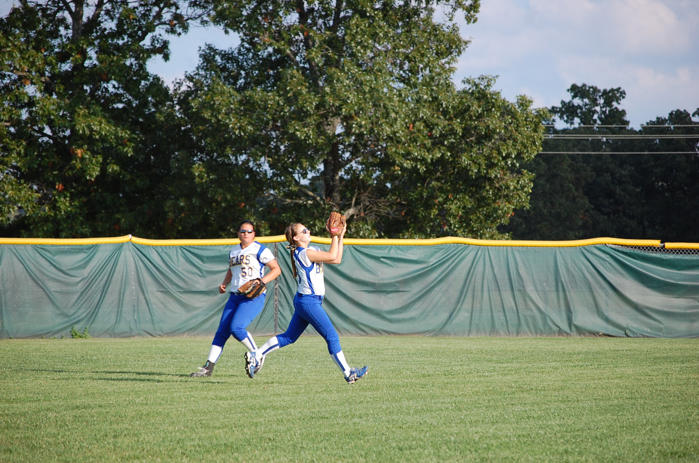 Ava centerfielder Callie Eubanks catches a fly ball for the second out in the top of the third inning here Tuesday. Maranda Yost is backing up the play.