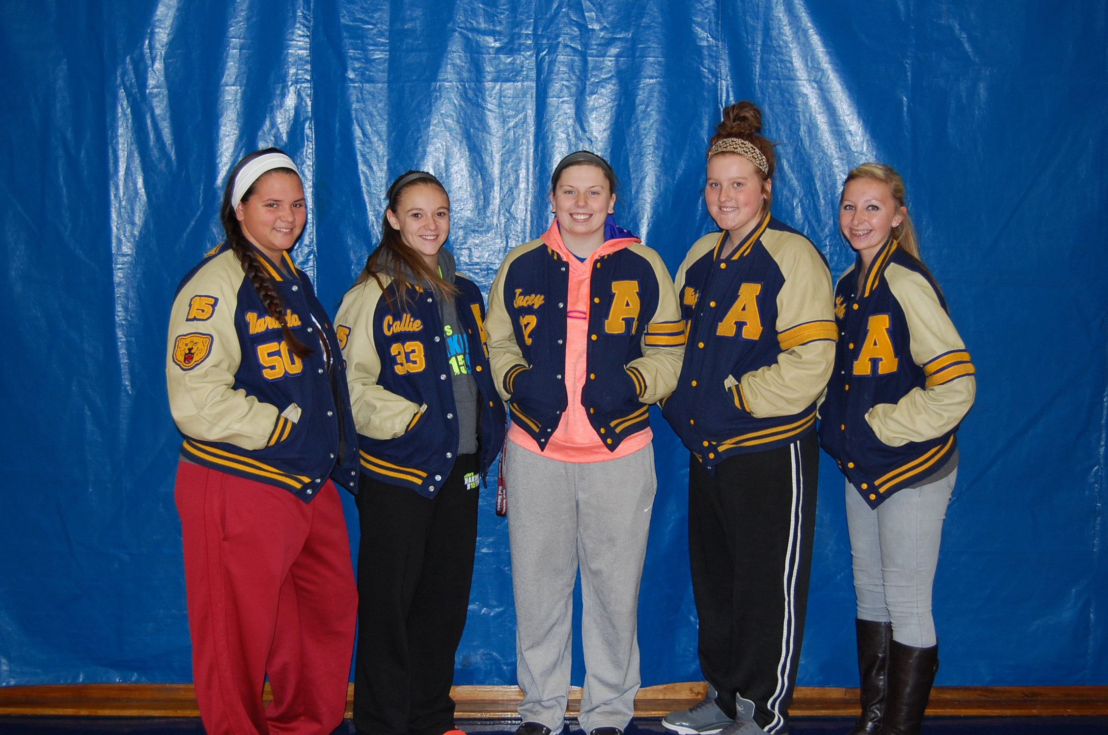 These Ava High School girls received all-SCA honors at the close of the 2014 season. They are, from left: Maranda Yost, 1st team; Callie Eubanks, honorable mention; Jayce Swofford, 1st team; Misty Regennitter, 1st team; and Lakota Blakey, 2nd team.