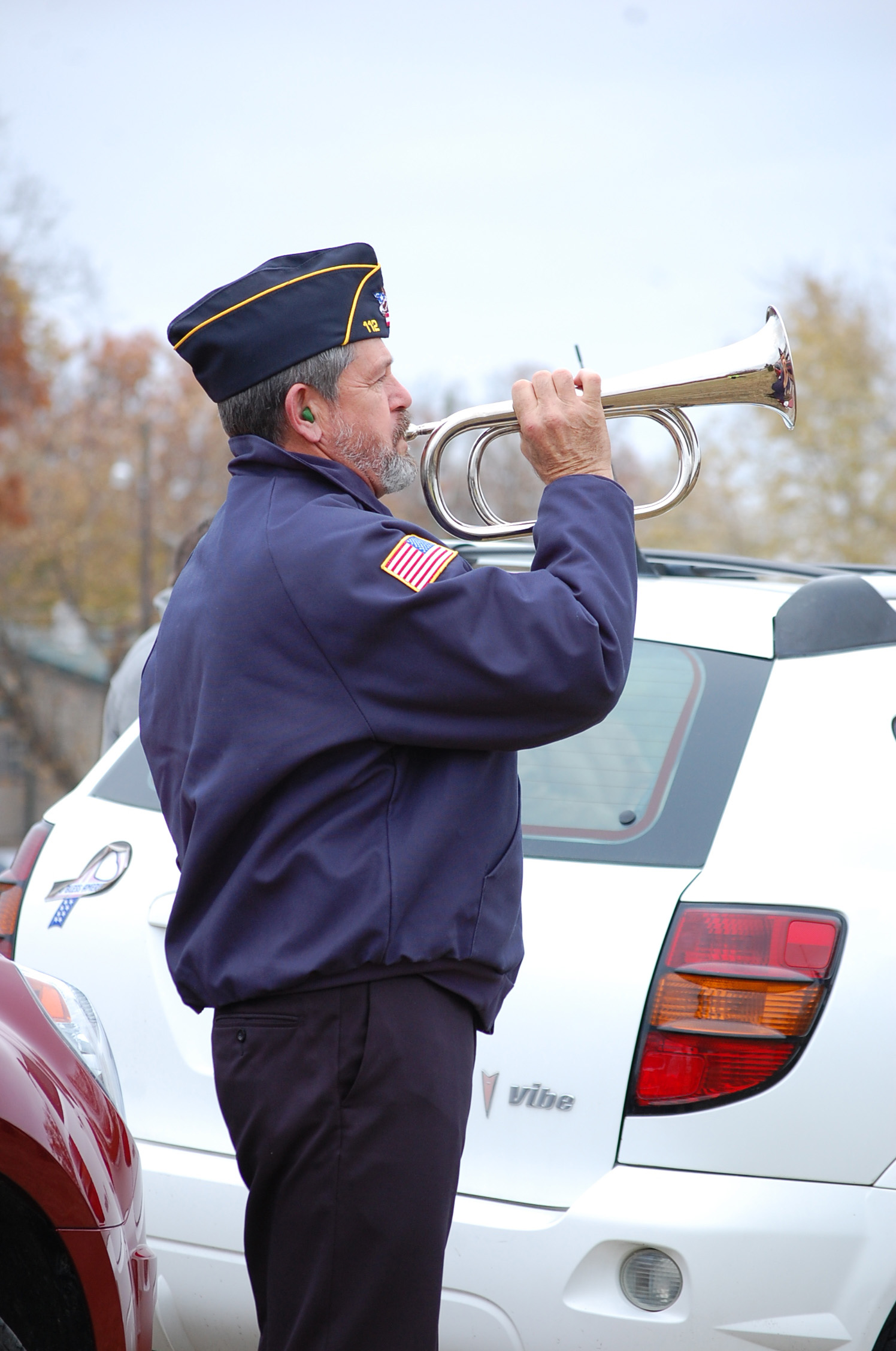 American Legion member Tom Bentley played Taps at the conclusion of the Veterans Day ceremony at the Ava Cemetery Tuesday.