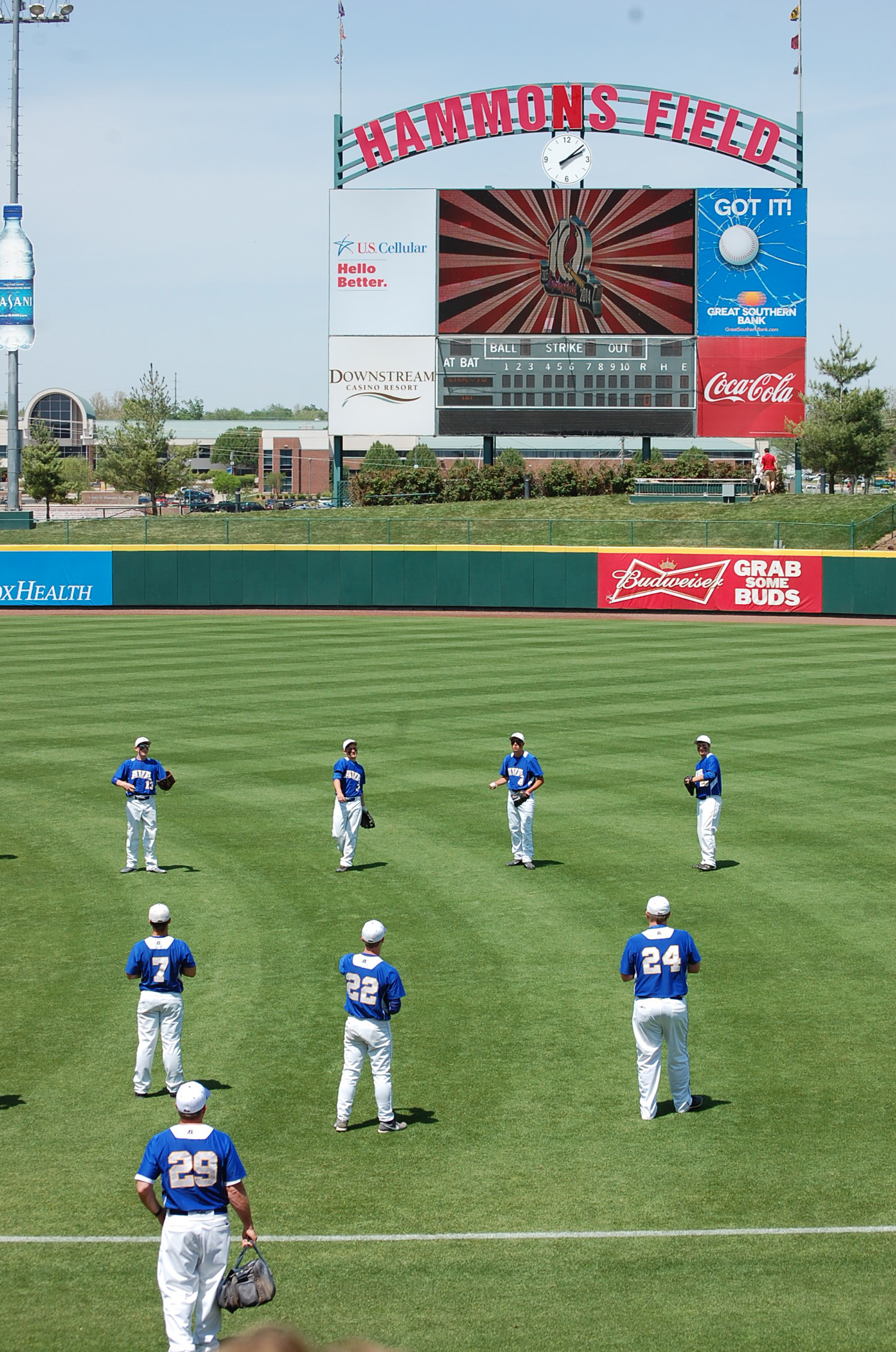 """The Ava Bears warm up before their """"once in a lifetime experience"""" of playing baseball at Hammons Field Monday afternoon."""