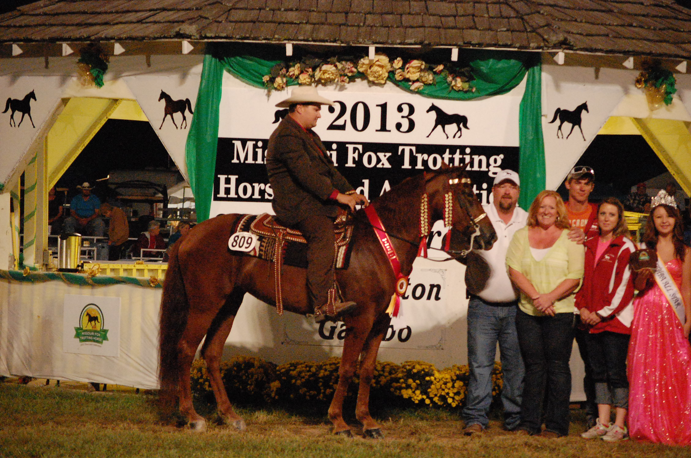 RESERVE WORLD GRAND CHAMPION of the 2013 Show and Celebration is My Hard Time, ridden by Garrett King for Joe Stewart and Jennifer Stewart, of Farmington, Ark.