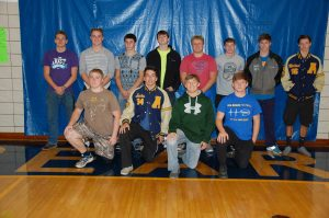 FOOTBALL – All-SCA selections in football from Ava include, from left, front row: Ivac Chittendon, honorable mention offensive line; Justus Wilson, HM defensive line; Caleb Johnson, 2nd team defensive back and HM quarterback; and Eli Maggard, HM defensive line. Back row: Jeff Hull, HM offensive line; Brandon Johnson, 2nd team offensive line; Quincey McDonald, 2nd team linebacker; Bailey Bewley, 2nd team defensive line; Colton Skyles, 1st team offensive line; Stephen Copeland, HM running back; Kelly McDonald, 1st team linebacker; and Michael Lane, HM receiver.