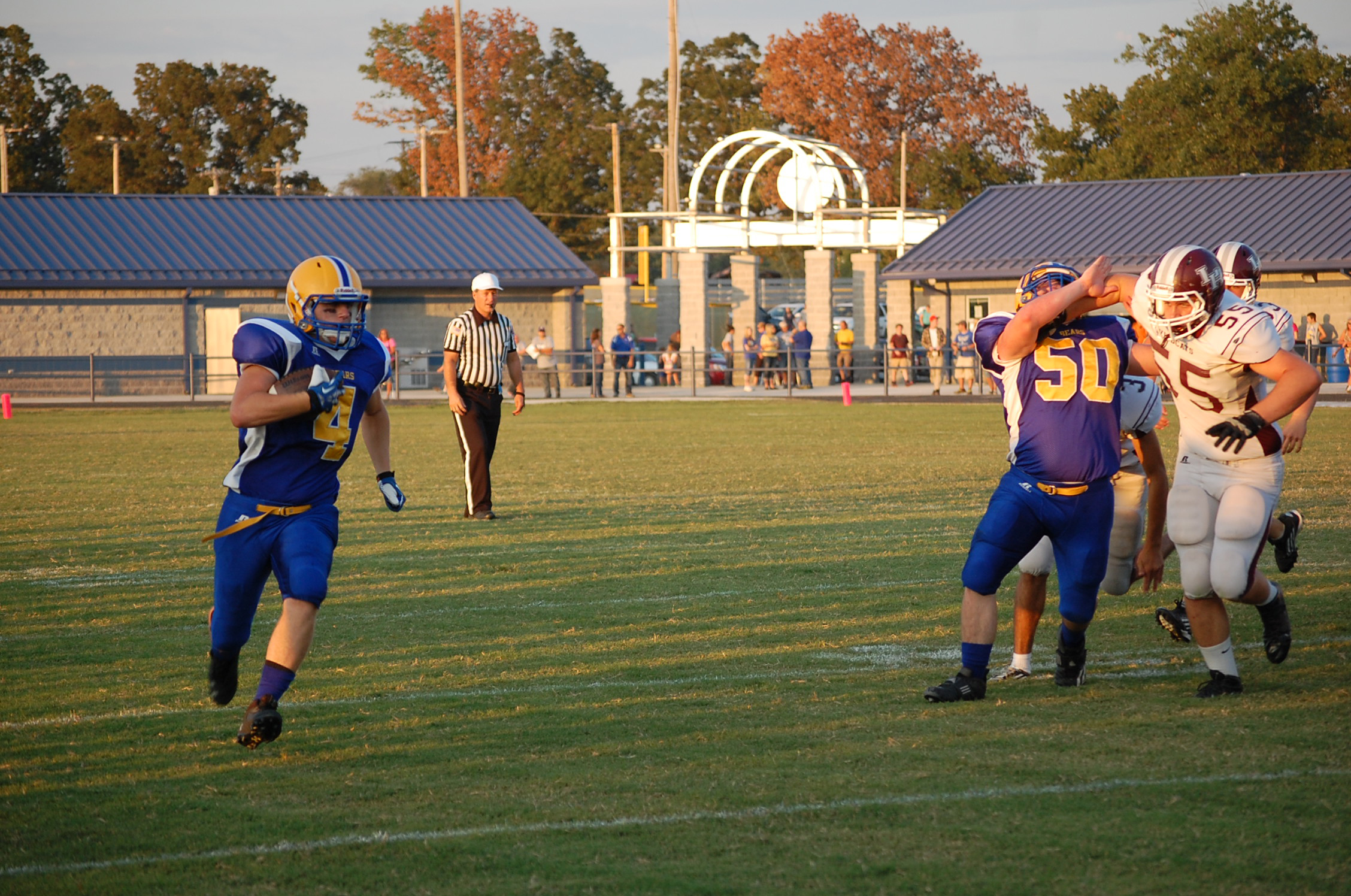 Colton Akers carried for 100 yards last Friday night, including this good gainer around the right side.